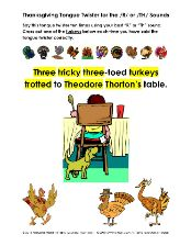 Thanksgiving Tongue Twisters for the /R/ and /TH/ Sounds - Articulation Exercise 2 Pages - pinned by @PediaStaff – Please Visit ht.ly/63sNtfor all our pediatric therapy pins