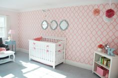 This wall mural is amazing! #wall #decor #pink #nursery