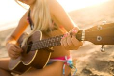 guitar + girl + beach