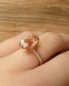 Oval Morganite and Diamond Ring by kateszabone on Etsy
