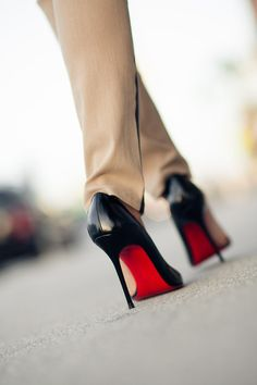 Red soles. fashion place, dream closets, christians, style, christian louboutin shoes, fashion news, fashion center, black heels, green door