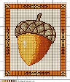 Autumn Acorn Needlepoint Pattern - Pattern for Needlepoint Acorn. Or cross stitch.