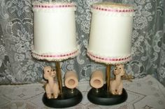RARE GLAM CHIC 50s FRENCH POODLE CHALKWARE PLASTER BOUDOIR LAMPS SHABBY ART DECO
