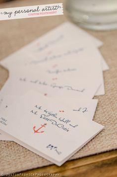 Nautical wedding seating place cards. www.mypersonalartist.com