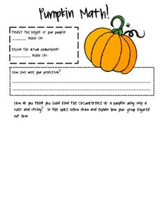 Pumpkin Math unit for 3rd grade!  My FIRST ever Teachers Pay Teachers item and it's FREE!!  Happy fall y'all!