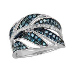1 CT. T.W. Enhanced Blue and White Diamond Petals Ring