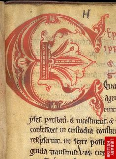 Detail of decorated initial.   Origin:England, N.