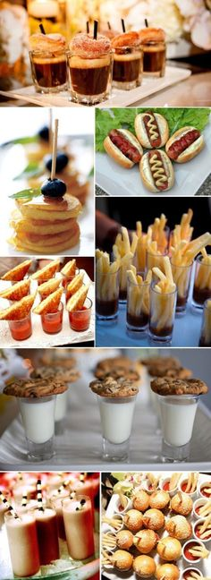 Great Finger Food Ideas for Parties (Bite Size Pancake Stacks w/ Syrup, French Fries in Ketchup Shot Glasses, Cookies on Milk Cups)
