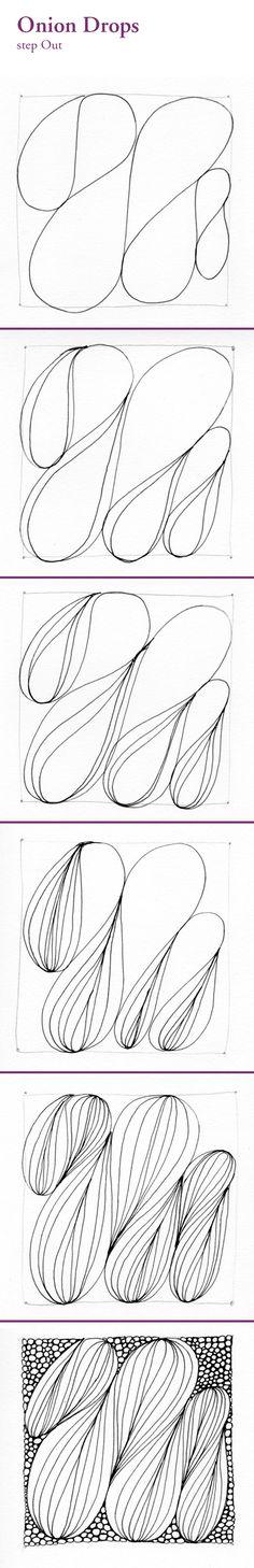 Zentangle pattern: Onion Drops — [from blog: 'Shastablasta wraps presents well' - NB]