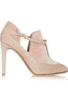 VALENTINO Crystal-embellished suede and velvet T-bar pumps