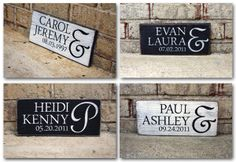 Wedding Signs - Couple's First Names and Wedding Date on Reclaimed Wood Painted Sign #weddinggift #weddingdecor #summerwedding #personalized #woodsign