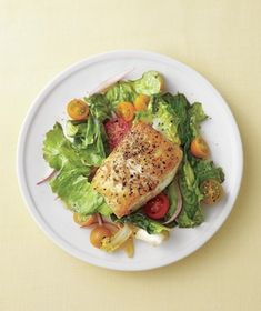 Seared Fish With Tomatoes and Garlicky Escarole from realsimple.com #myplate #protein #vegetables