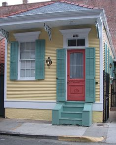 New Orleans pretty painted house - tiny shotgun house