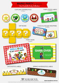 Mario Birthday Party - free printables