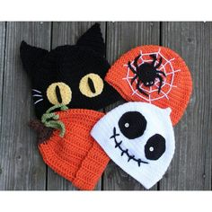 Gorros tejidos para Halloween.