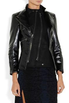 Altuzarra|Felt-paneled faux leather biker jacket. Shop the Tough Luxe issue of The Edit magazine.