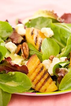 Salads, nutrition and no fat, live healthy on uncoked salads Grilled Peach Salad Like and Repin :D