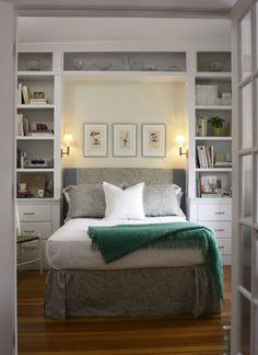 "Build built in bookshelves and drawers around the bed make good use of a small space (this bedroom is 8'L x 9'W x10'H). Bookshelves are 12""D x 30""W, base cabinet is 18""D x 30""W, and bed niche is 64"" wide. Mount sconce light to the side of the bookshelf wall. Shelving is painted BM Super White and walls are BM Minced Onion"