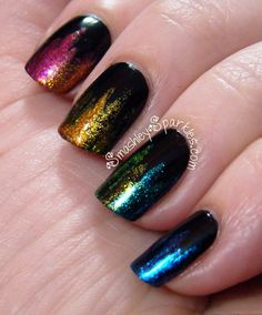 Jagged Rainbow Gradient Over Black Nails