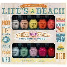 SEPHORA by OPI Life's A Beach Mini Kit: Nail Sets | Sephora  Top L-R: White Hot, I Gotta Blush On You, IM Beauty, Paisley Attention To Me, I'm Wired Bottom: Havana Dreams, Read My Palm, It's Hippo To Be Square, It's All About Me, High Maintenance