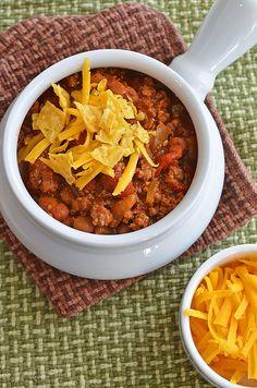 chili in a crock pot.