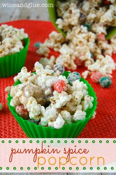 Pumpkin Spice Popcorn that is simple to make and absolutely irresistible! via ww.wineandglue.com