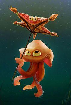PATRYK HABRYN starfish umbrella, char 3d, umbrellas, cartoon, rig demo, charact design, 3d charact, patryk habryn, illustr