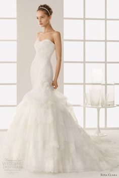Two by Rosa Clará 2013 bridal collection.  Dimas strapless mermaid embroidered organza gown with sweetheart neckline.