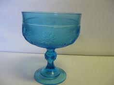 Indiana Glass Tiara Exclusives Blue Sandwich Footed Compote Made in USA #teamsellit #bonanza
