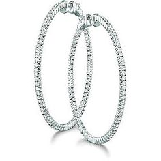 Click Image Above To Purchase: 14k White Gold 2ct Tdw Diamond Hoop Earrings (h-i, I1)