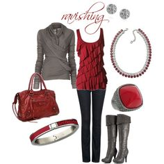 Scarlet & grey color combos, holiday outfits, colors, christmas, color combinations, date nights, boots, bags, shirt