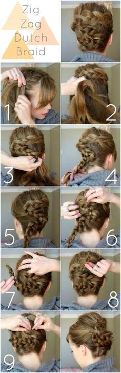 Zig zag dutch braid hairstyle.  For more hairstyles, go to http://sussle.org/t/Hairstyle