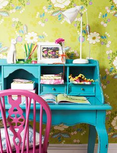 bright turquoise - pink chair