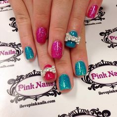 Pink and Blue Rock Star Nails