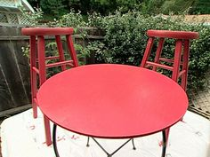 Accent table and chairs in Benjamin Moore spanish red.  Office desk color?