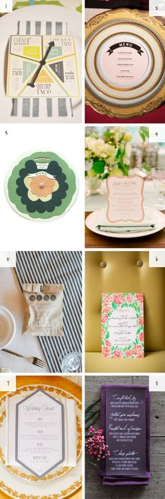 Wedding menu design.