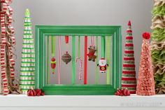 Show off your favorite Christmas ornaments in a brightly colored frame for a new twist on classic holiday decor.