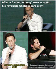 Zachary Levi and Tom Hiddleston.