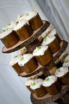 Rustic wood cupcake stand.