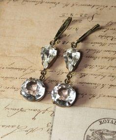 Bridal Earrings Vintage Clear Crystal Glass Earrings - Wedding Bride Bridesmaid Gift - Estate Style Earrings by Inspiredbyelizabeth