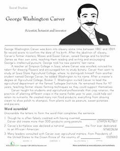 Worksheets: Historical Heroes: George Washington Carver