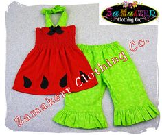 Girls Outfit Custom Boutique Clothing Red by ZamakerrClothingCo, $42.99