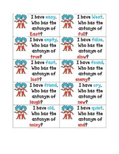 I have, who has antonym game - pinned by @PediaStaff – Please Visit  ht.ly/63sNt for all our pediatric therapy pins