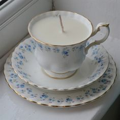 Royal Albert 'Memory Lane' Teacup Candle, Saucer & Plate