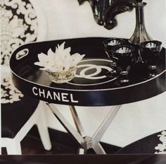 old hollywood silver bedroom | Making this Chanel serving tray into a table is genius! Trays Tables, Decor, Chanel Trays, Black And White, Interiors Design, Black White, Servings Trays, Bedside Tables, Vintage Chanel