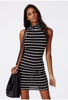 Missguided - Andie Roll Neck Bodycon Dress Stripe