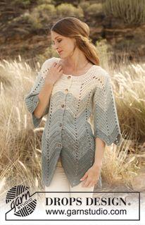 Free Pattern :: Crochet DROPS jacket with zig-zag pattern in 2 strands Alpaca. Size: S - XXXL. ~ DROPS Design