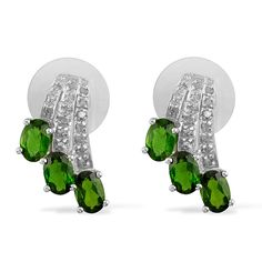 Liquidation Channel: Russian Diopside and Diamond Earrings in Platinum Overlay Sterling Silver (Nickel Free)