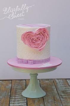 Adorable Ruffled Pink Heart Cake