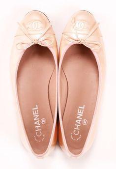 Blush pink Chanel flats